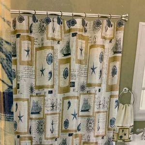 Nautical Seashell Ocean Fabric Shower Curtain